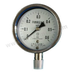 天川 304不锈钢压力表(径向不带边) Y150/0-10MPA/G1/2 安装方式:径向不带边 材质:304不锈钢 精度:1.6级 量程:0-10MPA  个