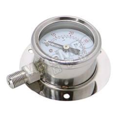 天川 304不锈钢压力表(径向带后边) Y100/-0.1-0.9MPA/G1/2 材质:304不锈钢 安装方式:径向带后边 精度:1.6级 量程:-0.1-0.9MPA  个