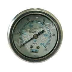 天川 304不锈钢耐震压力表(轴向不带边) Y40/0-25MPA/G1/8 材质:304不锈钢 精度:1.6级 安装方式:轴向不带边 量程:0-25MPA  个