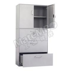集大 组合开门文件柜 WH2-K7-3DY 层板配置:上节一块层板下节三抽屉 颜色:银灰色  台