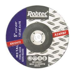 ROBTEC 树脂砂轮角磨片 100×6×16-24# 厚度:6mm 最小起订量:10000 最高转速:13300RPM 孔径:16mm 包装数量:200片/箱  片