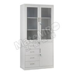 集大 玻璃门四斗单门柜 CAB-BK10-4DD 层板配置:上节对开门内二块层板,下节单门内一块层板  台