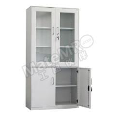 集大 玻璃开门文件柜 WH2-BK11-K7B 层板配置:上节两块层板 下节一块层板 颜色:白色  台