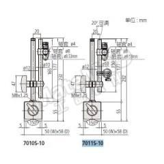 三丰 磁性表座 7011S-10 底座尺寸(长×宽×高):50×58.5×55mm 下杆长:177mm  架