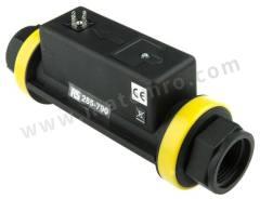 流量传感器 DFT.980.RS 最大流量:2 → 150 L/min 电气连接:电缆插头 控制输出:脉冲 电源电压:24 V 直流 管直径范围:1 in 最低工作温度:+5°C 最高工作温度:+60°C  个